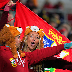 Lions fans celebrate after the 2017 DHL Lions Series rugby union match between the NZ Maori and British & Irish Lions at FMG Stadium in Hamilton, New Zealand on Tuesday, 20 June 2017. Photo: Dave Lintott / lintottphoto.co.nz