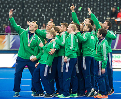 The Irish team take a selfie. The Netherlands v Germany - Final Unibet EuroHockey Championships, Lee Valley Hockey & Tennis Centre, London, UK on 29 August 2015. Photo: Simon Parker