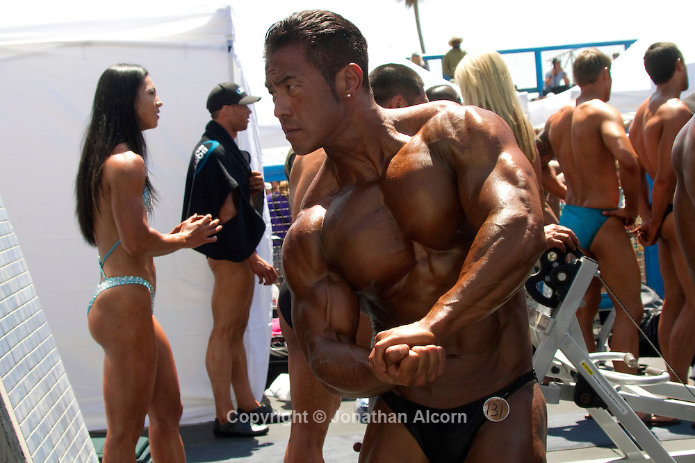 Body Builders, and Bikini contestants at The Muscle Beach Memorial Day International Classic on Memorial Day 2011 in Venice Beach.