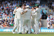 Australia celebrate the wicket of Ian Bell of England  during the third day of the 5th Investec Ashes Test match between England and Australia at The Oval, London, United Kingdom on 22 August 2015. Photo by Ellie Hoad.