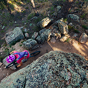 Heather Goodrich rides the Rock n' Roller Trail in Curt Gowdy State Park in Eastern Wyoming.