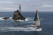 IRELAND, Fastnet Rock. 2nd July 2012. Volvo Ocean Race, Leg 9, Lorient to Galway. Team Sanya rounds the Fastnet Rock.