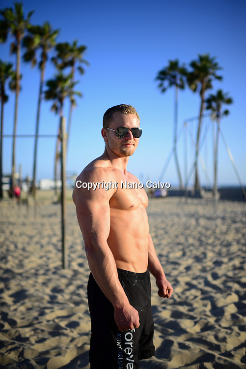 Finnish athlete and coach, Aaro Helander, in Venice Beach Calisthenics park, Los Angeles.