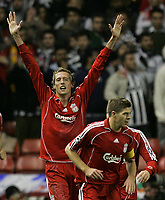 Photo: Paul Thomas/Sportsbeat Images.<br /> Liverpool v Besiktas. UEFA Champions League. 06/11/2007.<br /> <br /> Peter Crouch and Liverpool celebrate his opening goal.