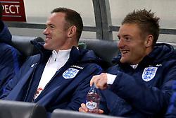 Wayne Rooney of England shares a joke with Jamie Vardy of England - Mandatory by-line: Robbie Stephenson/JMP - 11/10/2016 - FOOTBALL - RSC Stozice - Ljubljana, England - Slovenia v England - World Cup European Qualifier