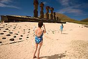Tourists and moai at Anakena Beach Easter Island, Chile