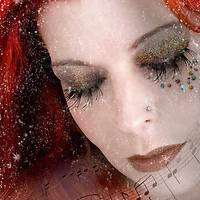 woman with vibrant red hair and musical notes