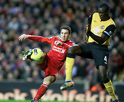 26.11.2011, Anfield Stadion, Liverpool, ENG, PL, FC Liverpool vs Blackburn Rovers, 18. Spieltag, im Bild Liverpool's Maximiliano Ruben Maxi Rodriguez is thwarted by Blackburn Rovers' Christopher Samba during the football match of English premier league, 18th round, between FC Liverpool and Blackburn Roversat Anfield Stadium, Liverpool, United Kingdom on 2011/12/26. EXPA Pictures © 2011, PhotoCredit: EXPA/ Propagandaphoto/ David Rawcliff..***** ATTENTION - OUT OF ENG, GBR, UK *****