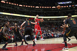 December 4, 2017 - Chicago, IL, USA - Chicago Bulls forward Denzel Valentine (45) passes the ball during the first half against the Cleveland Cavaliers on Monday Dec. 4, 2017 at the United Center in Chicago, Ill. (Credit Image: © Armando L. Sanchez/TNS via ZUMA Wire)