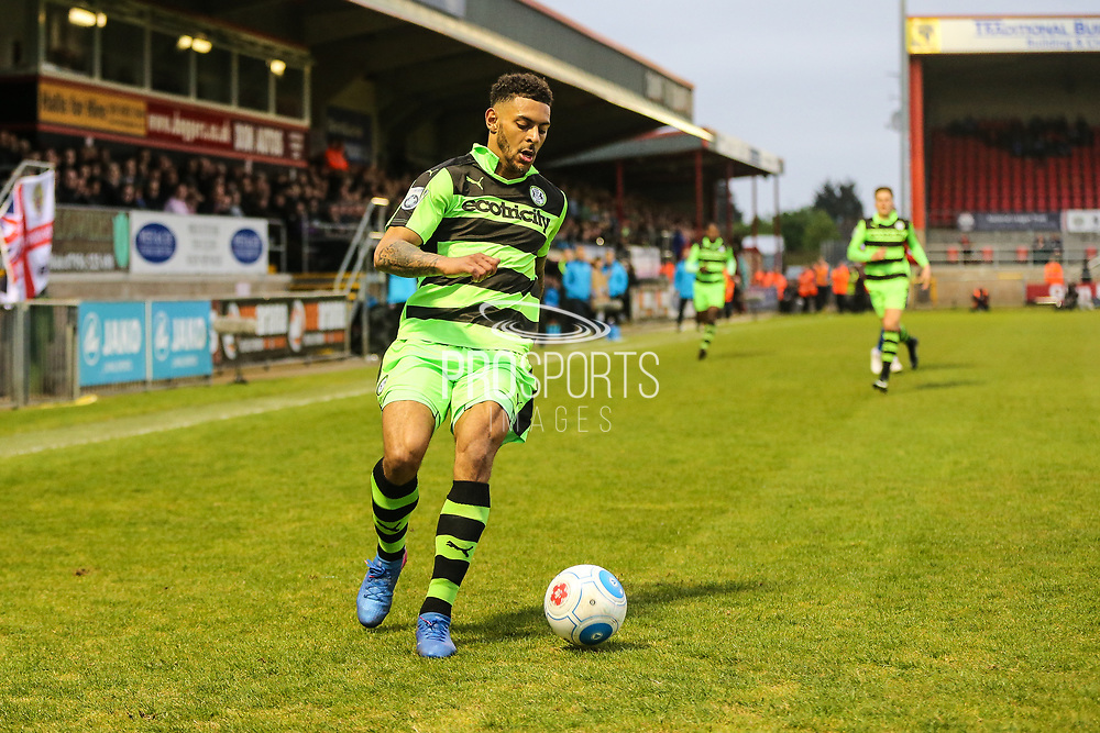Forest Green Rovers Kaiyne Woolery(14) on the ball during the Vanarama National League first leg play off match between Dagenham and Redbridge and Forest Green Rovers at the London Borough of Barking and Dagenham Stadium, London, England on 4 May 2017. Photo by Shane Healey.