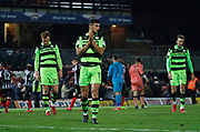 Forest Green Rovers Omar Bugiel(11) ) applauds the Forest Green fans at full time during the EFL Sky Bet League 2 match between Grimsby Town FC and Forest Green Rovers at Blundell Park, Grimsby, United Kingdom on 9 December 2017. Photo by Paul Thompson.