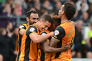 Hull City midfielder Moses Odubajo celebrates second goal during the Sky Bet Championship play-off first leg match between Derby County and Hull City at the iPro Stadium, Derby, England on 14 May 2016. Photo by Alan Franklin.