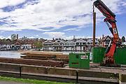 Henley on Thames. United Kingdom.   2018 Henley Royal Regatta, Henley Reach. <br />   <br /> Course Construction, Course Pilling Barge, Moored,<br /> <br /> Wednesday  25/04/2018<br /> <br /> [Mandatory Credit: Peter SPURRIER:Intersport Images]<br /> <br /> LEICA CAMERA AG  LEICA Q (Typ 116)  f5.6  1/1000sec  35mm  42.6MB