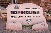 Hopi House historic landmark sign, Grand Canyon National Park, Arizona USA