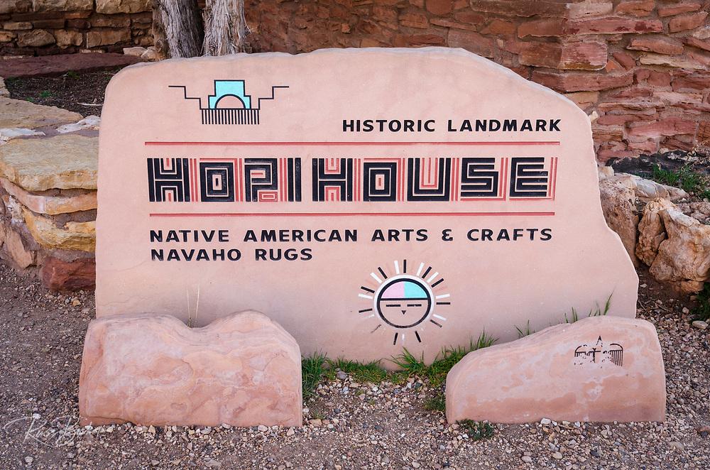 Hopi House historic landmark sign, Grand Canyon National Park, Arizona USA