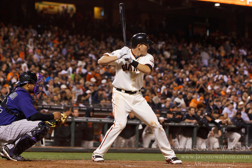 Sep 26, 2011; San Francisco, CA, USA;  San Francisco Giants first baseman Brett Pill (6) at bat against the Colorado Rockies during the eighth inning at AT&T Park. San Francisco defeated Colorado 3-1.