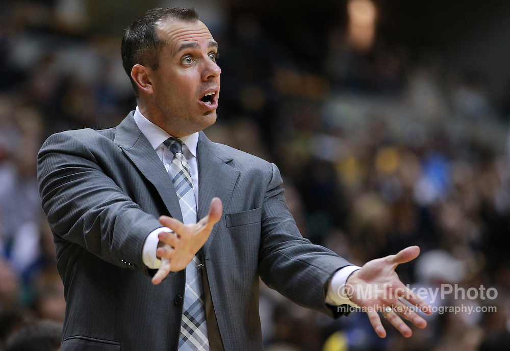 Dec. 30, 2011; Indianapolis, IN, USA; Indiana Pacers head coach Frank Vogel gestures to an official against the Cleveland Cavaliers at Bankers Life Fieldshouse. Indiana defeated Cleveland 81-91. Mandatory credit: Michael Hickey-US PRESSWIRE