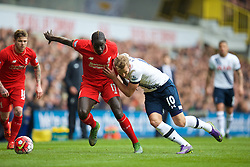 LONDON, ENGLAND - Saturday, October 17, 2015: Liverpool's Mamadou Sakho in action against Tottenham Hotspur's Harry Kane during the Premier League match at White Hart Lane. (Pic by David Rawcliffe/Kloppaganda)