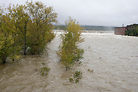 Connecticut River in fall flood at Holyoke Dam, Holyoke, MA