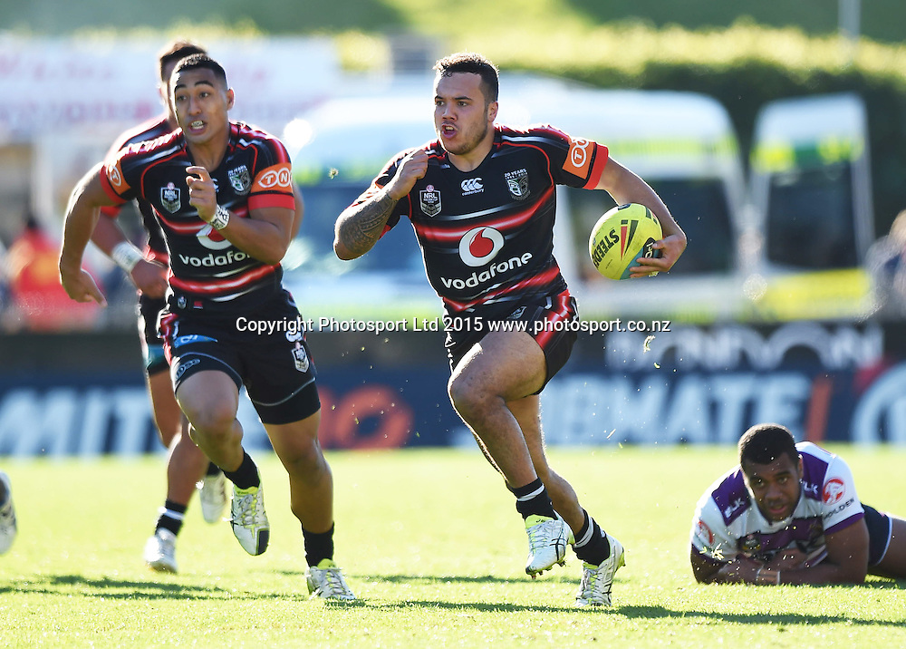 Jazz Tevaga during the Junior Warriors v Junior Storm match. NYC Holden Cup U20s Rugby League. Mt Smart Stadium, Auckland. New Zealand. Sunday 12 July 2015. Copyright Photo: Andrew Cornaga / www.Photosport.nz