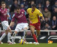 Photo: Olly Greenwood.<br />West Ham United v Watford. The Barclays Premiership. 10/02/2007. West Ham's Matthew Etherington and Watford's Adrain Mariappa