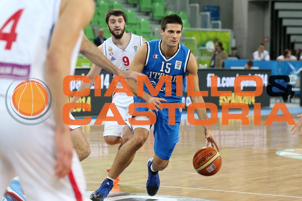 DESCRIZIONE : Lubiana Ljubliana Slovenia Eurobasket Men 2013 Finale Settimo Ottavo Posto Serbia Italia Final for 7th to 8th place Serbia Italy<br /> GIOCATORE : Andrea Cinciarini<br /> CATEGORIA : palleggio dribble<br /> SQUADRA : Italia Italy<br /> EVENTO : Eurobasket Men 2013<br /> GARA : Serbia Italia Serbia Italy<br /> DATA : 21/09/2013 <br /> SPORT : Pallacanestro <br /> AUTORE : Agenzia Ciamillo-Castoria/ElioCastoria<br /> Galleria : Eurobasket Men 2013<br /> Fotonotizia : Lubiana Ljubliana Slovenia Eurobasket Men 2013 Finale Settimo Ottavo Posto Serbia Italia Final for 7th to 8th place Serbia Italy<br /> Predefinita :