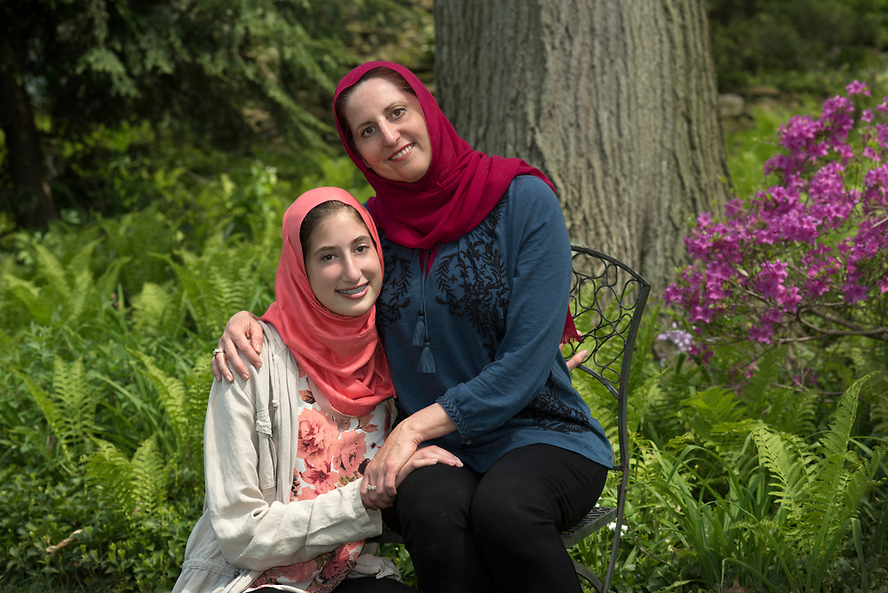 Lana Shami and her daughter Aya Obeid, age 16, at their Mt. Lebanon home. Shami is on the board of the Islamic Center of Pittsburgh.