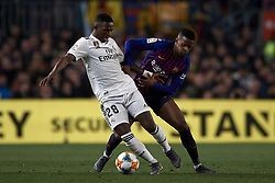 February 6, 2019 - Barcelona, Barcelona, Spain - Vinicius Junior of Real Madrid and Nelson Semedo of Barcelona battle for the ball during the Spanish Cup (King's cup), first leg semi-final match between FC Barcelona and  Real Madrid at Camp Nou stadium on February 6, 2019 in Barcelona, Spain. (Credit Image: © Jose Breton/NurPhoto via ZUMA Press)