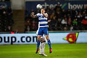 Queens Park Rangers forward Jordan Hugill (9) heads the ball during the EFL Sky Bet Championship match between Swansea City and Queens Park Rangers at the Liberty Stadium, Swansea, Wales on 11 February 2020.