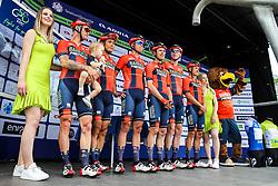 Phil Bauhaus (GER) of Bahrain - Merida, Heinrich Haussler (AUS) of Bahrain - Merida, Yukiya Arashiro (JPN) of Bahrain - Merida, Domen Novak (SLO) of Bahrain - Merida, Grega Bole (SLO) of Bahrain - Merida, Marcel Sieberg (GER) of Bahrain - Merida and mascot during 1st Stage of 26th Tour of Slovenia 2019 cycling race between Ljubljana and Rogaska Slatina (171 km), on June 19, 2019 in  Slovenia. Photo by Matic Klansek Velej / Sportida
