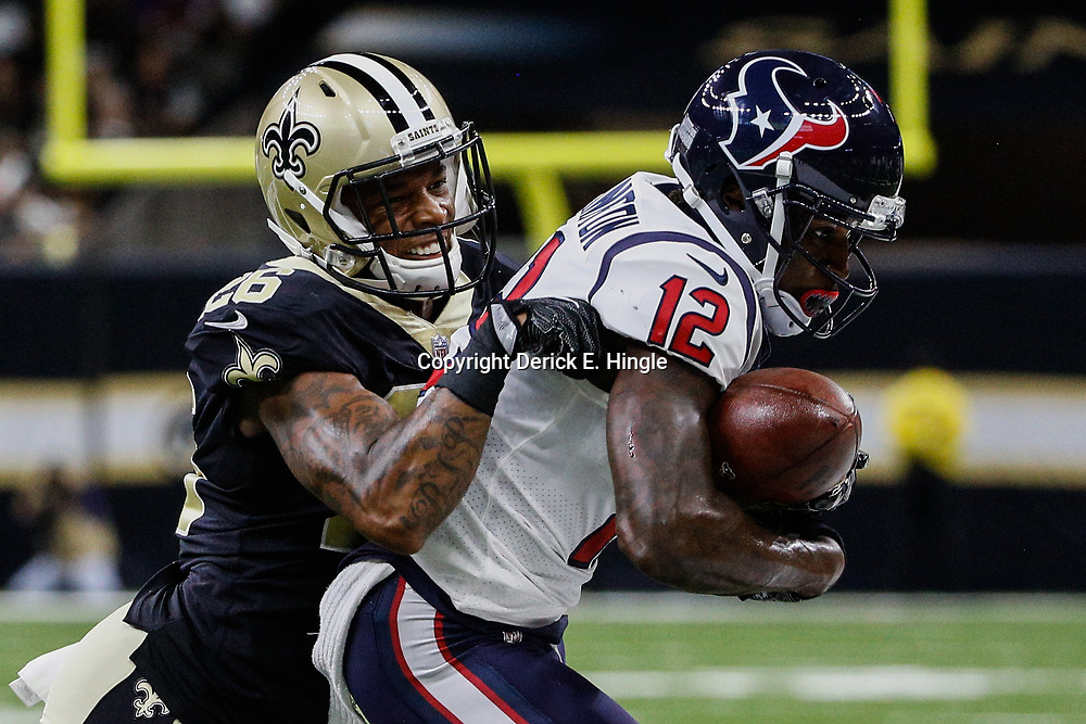 Aug 26, 2017; New Orleans, LA, USA; New Orleans Saints cornerback P.J. Williams (26) defends Houston Texans wide receiver Bruce Ellington (12) during the second quarter of a preseason game at the Mercedes-Benz Superdome. Mandatory Credit: Derick E. Hingle-USA TODAY Sports