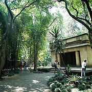 MEXICO CITY, MEXICO--a Mayan building in one of the outside areas of the National Museum of Anthropology in Mexico City. The National Museum of Anthropology showcases  significant archaeological and anthropological artifacts from the Mexico's pre-Columbian heritage, including its Aztec and indiginous cultures.