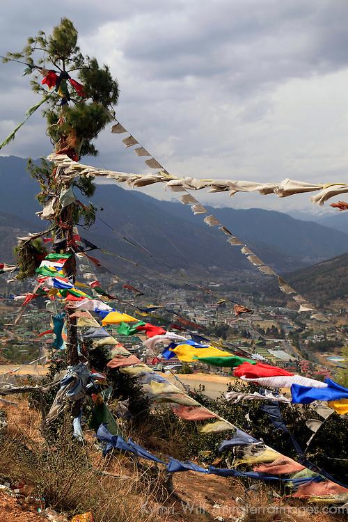 Asia, Bhutan, Thimpu. Prayer Flags wave over Thimpu.