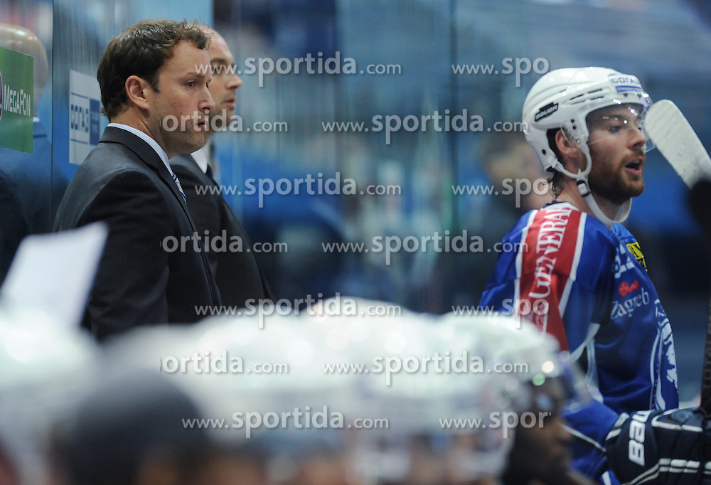 29.08.2014, Dom Sportova, Zagreb, CRO, KHL Medvescak vs KAC Klagenfurt, Eishockey Vorbereitungsspiel, im Bild Chuck Weber // during a Hockey pre-season match between KHL Medvescak and KAC Klagenfurt at the Dom Sportova in Zagreb, Croatia on 2014/08/29. EXPA Pictures &copy; 2014, PhotoCredit: EXPA/ Pixsell/ Marko Lukunic<br /> <br /> *****ATTENTION - for AUT, SLO, SUI, SWE, ITA, FRA only*****