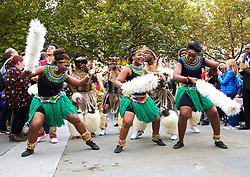 October 14, 2017 - London, London, United Kingdom - People from all communities attend the annual Africa on the Square festival in Trafalgar Square. The parade of traditional African dancers started off the event. (Credit Image: © Dinendra Haria/i-Images via ZUMA Press)
