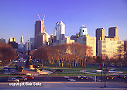 Philadelphia Skyline, Ben Franklin Parkway, from Museum of Art, City Center, City Hall. Comcast Construction, Logan Circle