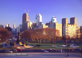 Philadelphia Skyline, Ben Franklin Parkway, from Museum of Art, City Center, City Hall. Comcast Construction, Logan Circle