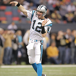 2008 December, 28: Carolina Panthers quarterback Josh McCown (12) throws a pass on the field prior to kickoff of a week 17 game between NFC South divisional rivals the Carolina Panthers and the New Orleans Saints at the Louisiana Superdome in New Orleans, LA.