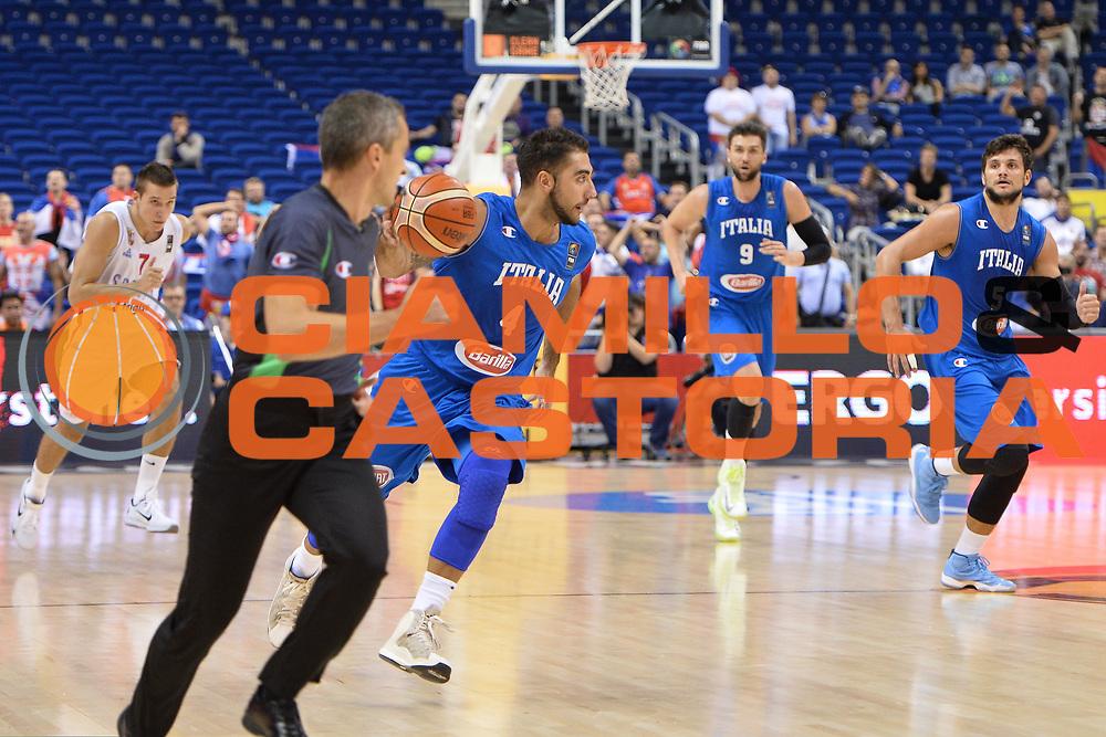 DESCRIZIONE : Berlino Berlin Eurobasket 2015 Group B Italy Serbia<br /> GIOCATORE :  Pietro Aradori<br /> CATEGORIA : Contropiede<br /> SQUADRA :Italy<br /> EVENTO : Eurobasket 2015 Group B <br /> GARA : Italy Serbia<br /> DATA : 10/09/2015 <br /> SPORT : Pallacanestro <br /> AUTORE : Agenzia Ciamillo-Castoria/I.Mancini <br /> Galleria : Eurobasket 2015 <br /> Fotonotizia : Berlino Berlin Eurobasket 2015 Group B Italy Serbia