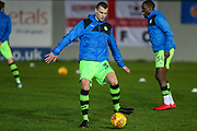 Forest Green Rovers Haydn Hollis(32) warming up during the EFL Sky Bet League 2 match between Exeter City and Forest Green Rovers at St James' Park, Exeter, England on 31 January 2018. Photo by Shane Healey.