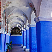 "Graceful archways of Monasterio Santa Catalina in the ""White City"" of Arequipa, Peru."