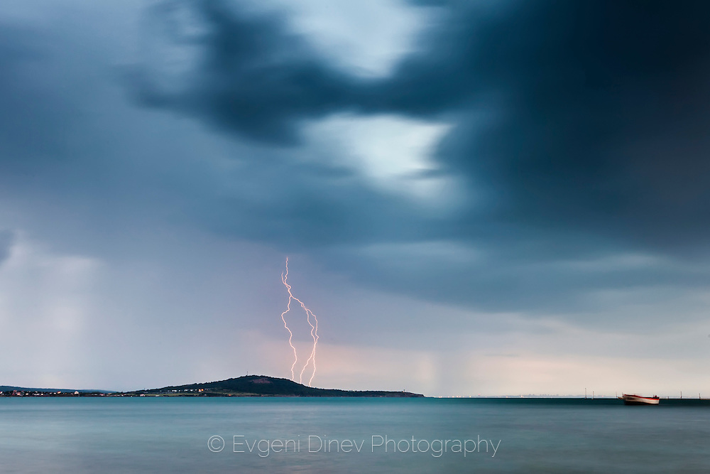 Spring thunder storm over the sea