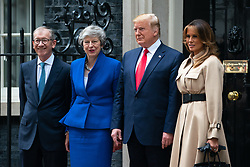 © Licensed to London News Pictures. 04/06/2019. London, UK. The President of the United States of America Donald Trump and the First Lady of the United States Melania Trump meet British Prime Minister Theresa May and her husband Philip May in Downing Street as part of Trump's state visit to the United Kingdom. Photo credit : Tom Nicholson/LNP