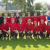 Scone Thistle U19's football team manager Gerry Scott (back rown 2nd from left) who works for Scotrail with his players wearing their new strips provided by Scotrail's parent company the First Group....23.09.12<br /> Picture by Graeme Hart.<br /> Copyright Perthshire Picture Agency<br /> Tel: 01738 623350  Mobile: 07990 594431