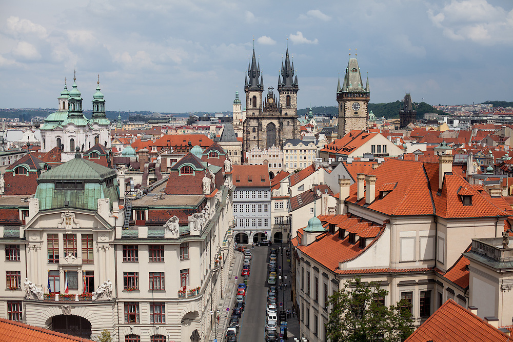 View from the Jesuit College Clementinum Tower towards the Old Town Square Tower and Tyn Church, both located at Old Town Square.