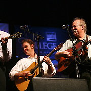 BREVARD, NC - SEPTEMBER 12 :  (L-R) Mike Guggino ,  Woody Platt and Dudley Connell  perform on stage as The Seldom Scene performs with the Steep Canyon Rangers in the Mountain Song Festival at The Brevard Music Center on September 12, 2009,  in Brevard, North Carolina, USA. (Photo by Logan Mock-Bunting/Getty Images)