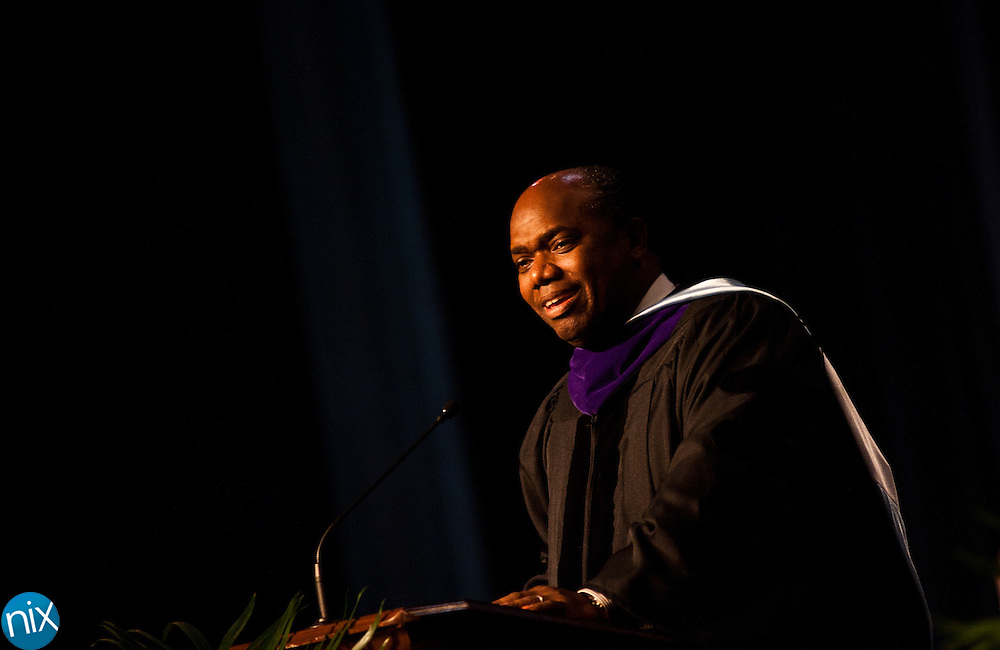 Keynote Speaker Jerry Blackwell during Commencement ceremonies Friday evening at the Kannapolis Performing Arts Center. (Photo by James Nix)