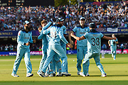 England Are World Champions - England players celebrate after Martin Guptill of New Zealand is run out in the super over and England win the World Cup during the ICC Cricket World Cup 2019 Final match between New Zealand and England at Lord's Cricket Ground, St John's Wood, United Kingdom on 14 July 2019.