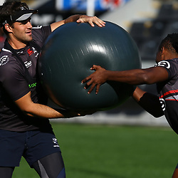 Kobus van Wyk with S'busiso Nkosi during The Cell C Sharks Captain's Run at Growthpoint Kings Park in Durban, South Africa 28th July 2017 (Photo by Steve Haag)<br /> <br /> images for social media must have consent from Steve Haag