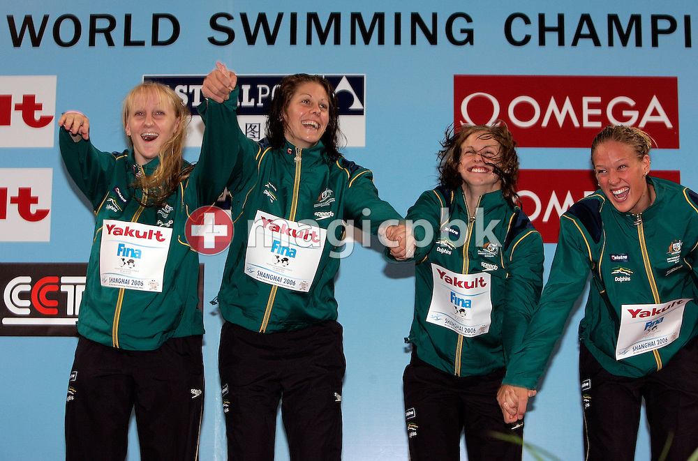 Australia's world record relay team with (L-R) Jessicah SCHIPPER, Jade EDMISTONE, Lisbeth LENTON and Tayliah ZIMMER celebrate their victory during the award ceremony of the women's 4 x 100m Medley Relay Final during day three of the 8th FINA World Swimming Championships (25m) held at Qi Zhong Stadium April 7, 2006 in Shanghai, China. (Photo by Patrick B. Kraemer / MAGICPBK)